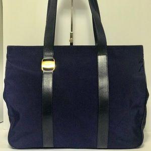 Authentic Ferragamo Navy Blue Nylon Tote Bag